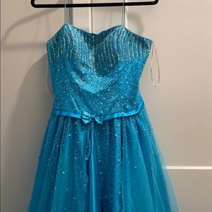 Turquoise Spaghetti Strap Full Length Ball Gown
